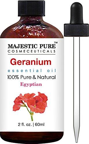 Majestic Pure Geranium Essential Oil, Therapeutic Grade, Authentic 100% Pure and Natural Geranium Oil, 2 fl. oz