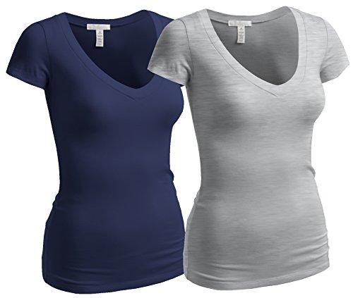 (Emmalise Women's Short Sleeve T Shirt V Neck Tee Value Set (2Pk, Navy, Heather Gray, Small))