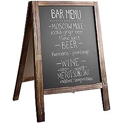 Wooden A-Frame Sign with Eraser & Chalk - Magnetic Sidewalk Chalkboard - Sturdy Freestanding Stained Wood Sandwich Board Menu Display for Restaurant, Business or Wedding