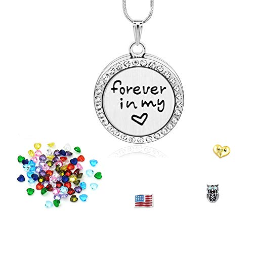 Birthstone Necklaces for Mothers with 36 Birthstone Charms,Floating Living Memory Locket Pendant Necklace Memorial for Mom,Forever in My Heart