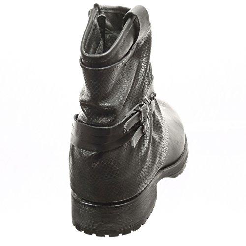 Angkorly - damen Schuhe Stiefeletten - Biker - Reitstiefel - Kavalier - Schlangenhaut - String Tanga - Nieten - besetzt Blockabsatz 3 CM Schwarz