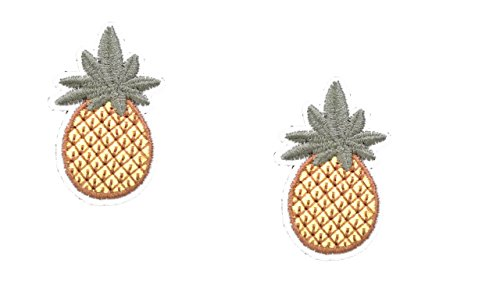 ron On Patch Fabric Applique Fruit Food Motif Children Ananas Decal 2.4 x 1.4 inches (6 x 3.5 cm) ()