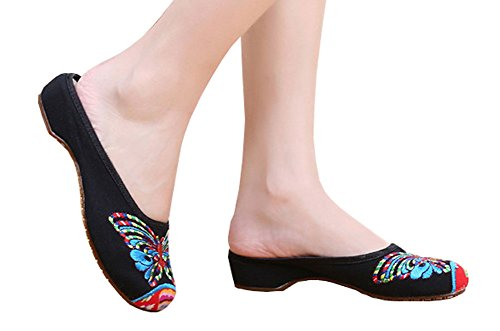 AvaCostume Linen Women's Chinese Butterfly Weave Flat Slippers Black 39