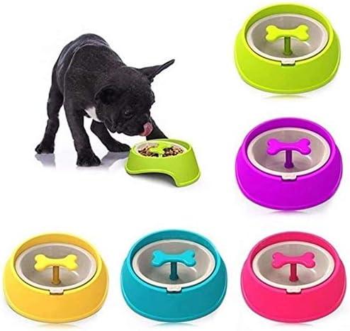 Dmqpp Langsam Pet Waterer Pet Essen Bowl Feeder-Hundewelpen Rotary Anti Choke Puzzle Knochen geformt Hunde Waterer Einfach Wasser Trinken und Clean hinzufügen (Color : Green, Size : 20x9x6.9cm)