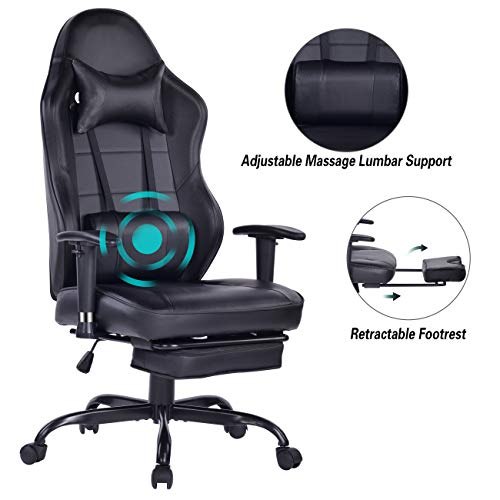 Blue Whale Gaming Chair PC Computer Chair with Footrest Ergonomic Video Game Chair High Back Racing Gamer Chair Reclining Leather Office Chair with Headrest and Lumbar Support (8332Black3)