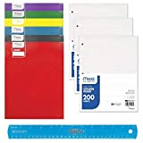 School Supplies Deal College Rule Loose Leaf Filler Paper (3 Pks), (6) School 2 Pocket Folders with Bonus Flexible Ruler