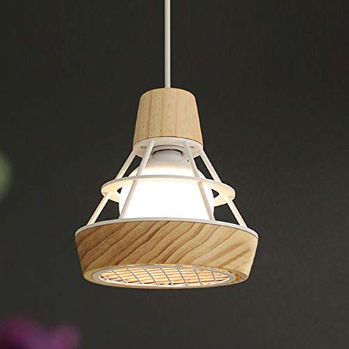 - XINDA Pendant Light Industrial Ceiling Light with Diamond Shape Cage 1-Light Hanging Lamp Ceiling Fixture- White