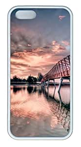 iPhone 5s Case Cover - Metal Bridge Custom TPU Rubber Silicone Case for iPhone 5S and iPhone 5 - White