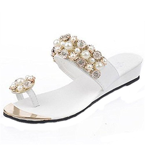 BZLine® Frauen Sommer Kristall Damen Flip Flops Style Plateau Hausschuhe Weiß