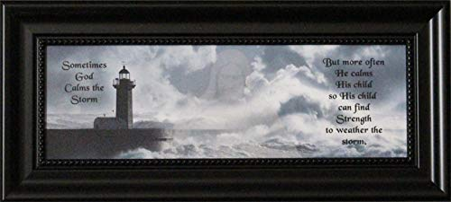 Sometime God Calms the Storm Framed quote with Jesus Christ and lighthouse -