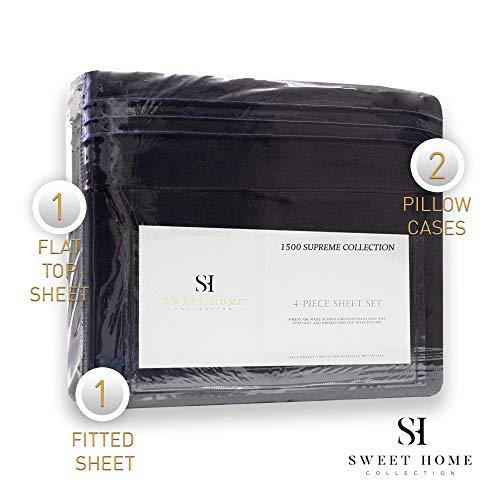 1500 Supreme Collection Bed Sheet Set - Extra Soft, Elastic Corner Straps, Deep Pockets, Wrinkle & Fade Resistant Hypoallergenic Sheets Set, Luxury Hotel Bedding, Full, Navy