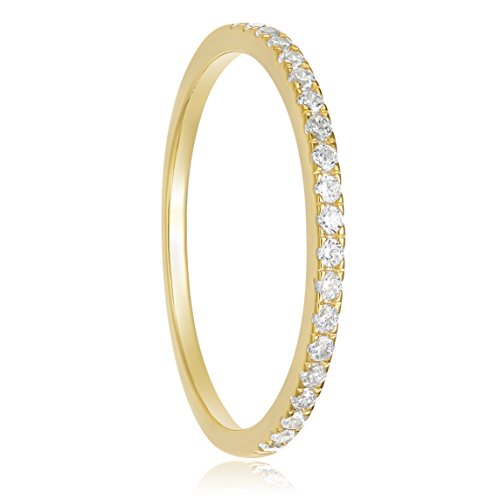 EAMTI 2mm 925 Sterling Silver Gold Wedding Band Cubic Zirconia Half Eternity Stackable Engagement Ring (5) - Gold Engagement Wedding Ring