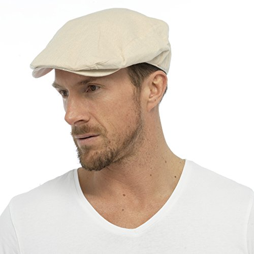 Mens Cotton Linen Fabric Flat Cap Hat Lined Summer Sun Peak Navy Stone M L  L XL  Amazon.co.uk  Clothing 828ec3be79c