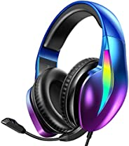 PeohZarr Gaming Headset Xbox One Headset PS4 Headset PS5 Headset, Flowing Aurora Lights Rainbow RGB Super Comf