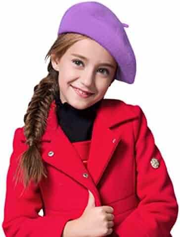 84b7e4e10536e Fakeface Wool French Beret Cap for Girls Boys Classic Parisian Hat Artist  Beret Tam Winter Bailey