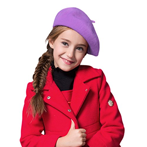[Cute Kids Hat Dome Beret Artist Dome Beret Cap Headwear French Style Costume Purple] (Artist Costume For Girls)