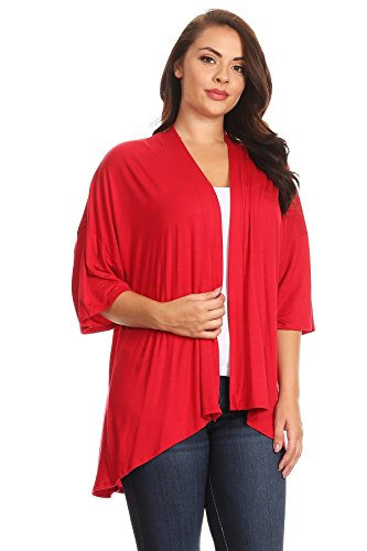 Modern Kiwi Womens Plus Size Solid 3/4 Sleeve Open Front Cardigan (1X-4X)