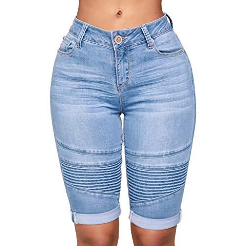 iNoDoZ Classic Knee Length Women Elastic Jeans Mid Rise Zip Skinny Denim Curvy Stretch Shorts Jeans