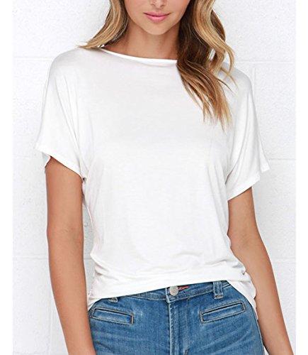T Shirts Weiss O 3 Mesdames Chemise Backless de Blouses Fit Soie Dcontracte en Tee Lache Dcollet Mousseline Fashion Top xSZxwqATa