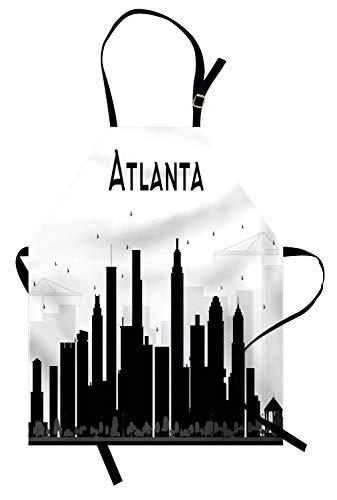 Costumes Design Schools In Georgia - Lunarable Atlanta Apron, Monochrome Silhouettes of