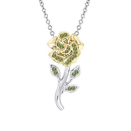 tusakha Beautiful Rose Flower Green Tourmaline Pendant Necklace 14K White & Yellow Gold Over 925 Sterling Silver for Girl's