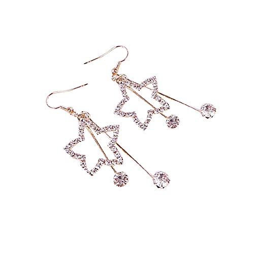 Elegant Women Lady Star Earrings Crystal Ear Stud Dangle Hoops Jewelry Gifts