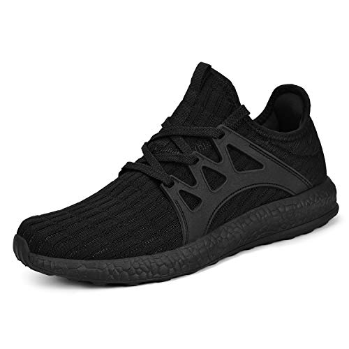 MARSVOVO Lightweight Sneakers for Women Mesh Athletic Sports Walking Tennis Running Shoes Dark Black Size 8