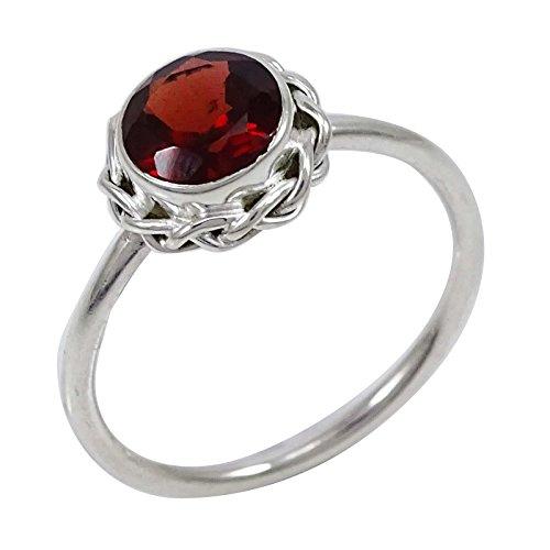 Banithani 925 solide indien bague de mode en argent femmes grenat pierre bijoux