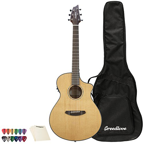 Breedlove Pursuit Series 6-String Concerto CE Red Cedar-Mahogany Acoustic-Electric Guitar with ChromaCast 12 Pick Sampler & Polish Cloth, Right Handed(PSCO01CERCMA-KIT-1)