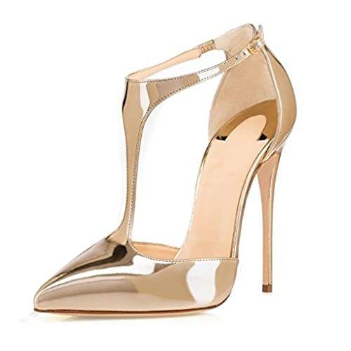 c0ed962358fb0 free shipping Sammitop Women s Pointed Toe High Heel Pumps T-Strap Dress  Shoes 12cm Stilettos