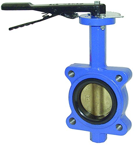 Valve Butterfly Lug - Dixon BFVL400 Ductile Iron Threaded Lug Style Butterfly Valve with Aluminum Bronze Disc and Buna-N liner, 4