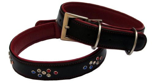 Brown Real Leather Dog Collar, Jeweled with colored Swarovski crystals, Available in 3 sizes. Style BeauCou Emperor. & SPECIAL PRICING
