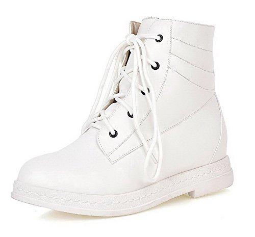 AgooLar Damen Rein PU Niedriger Absatz Schnüren Stiefel Weiß