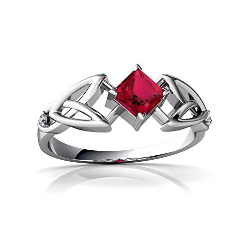 (14kt White Gold Lab Ruby and Diamond 4mm Square Celtic Trinity Knot Ring - Size 5.5)