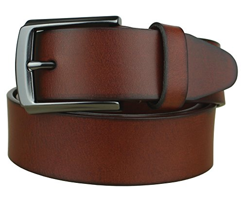 Bullko Men's 38mm Simple and Retro Leather Belt Size:32-34in Light Brown