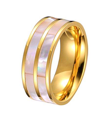 Double Natural Shell Inlay Cut 18K Gold Wedding Band Rings (18k Gold Natural)