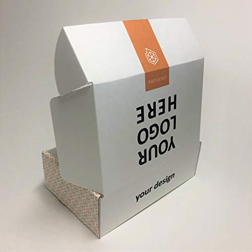 Custom Printed Cardboard 10 x 8 x 4 Mailer Boxes Printed on White Corrugated Paper (25 Pack) ()