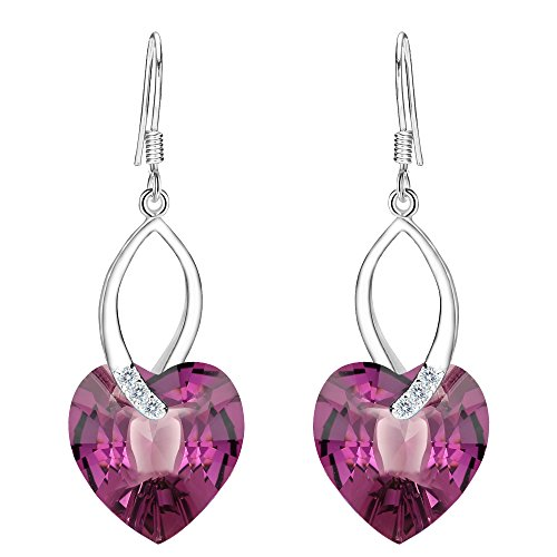 EleQueen 925 Sterling Silver CZ Love Heart French Hook Dangle Earrings Amethyst Color Made with Swarovski Crystals -