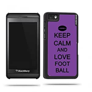 Keep Calm And Love Football Red Wood - Protective Designer BLACK Case - Fits Apple iPhone 4 / 4S / 4G