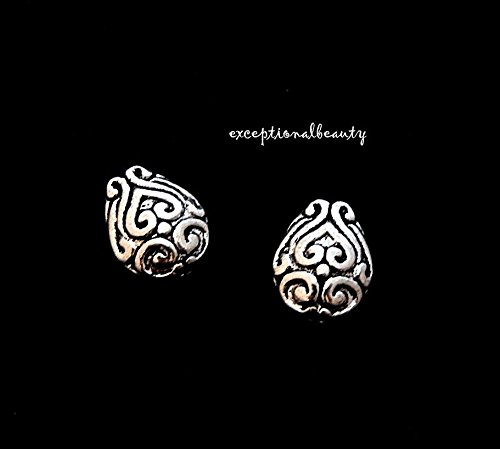 (20 Antiqued Tibetan Silver 10mm Filigree Teardrop Spacer Accent Metal Beads)