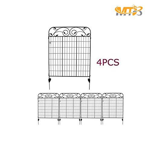 MTB Black Steel Decorative Fence Panel 8 Leaves, Metal Garden Border Folding Fences 44'H36'W (Pkg of 4, linear length 12 feet)