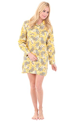 - Alexander Del Rossa Womens Cotton Nightshirt, Boyfriend Style Woven Sleepshirt, Medium Paisleys on Yellow (A0506V71MD)