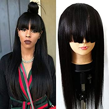 Image of 9A Brazilian Lace Front Wigs Straight Human with Bang Glueless Lace Wigs for Black Women Human Hair Wigs with Bangs with Baby Hair (18inch, Lace Front Wig) Health and Household