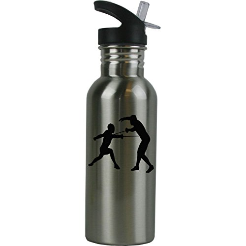Personalized Custom Fencers, Fencing Stainless Steel Water Bottle with Straw Top 20 Ounce Sport Water Bottle Customizable