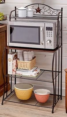 STARS AND BERRIES COUNTRY KITCHEN MICROWAVE CART RACK SHELF