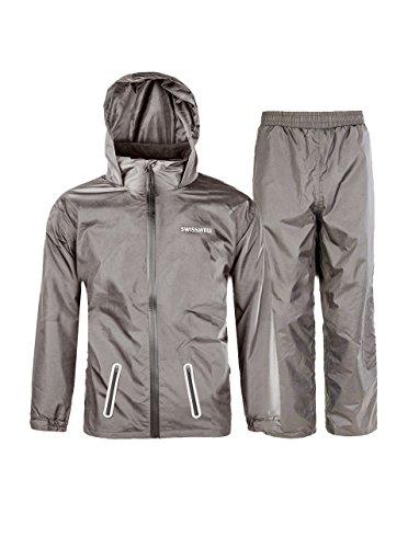 SWISSWELL Kids' Rain Coat Set with Hood Graphite Size -