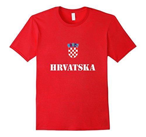 Red Apparel Adult Tee - Men's Croatia Hrvatska Soccer T-Shirt Croatian Football Tee Shirt XL Red