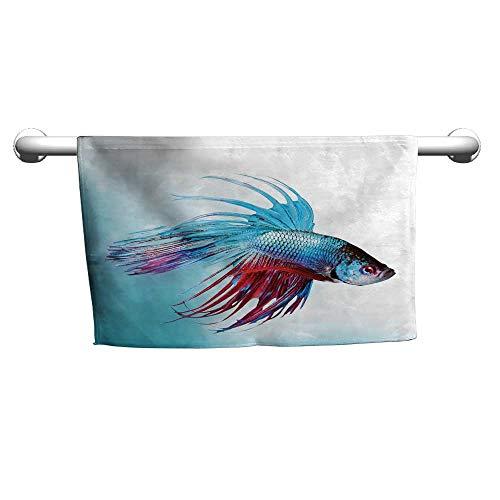 (flybeek Pattern Hand Towels Aquarium,Siamese Fighting Betta Fish Swimming in Aquarium Aggressive Sea Animal,Sky Blue Dark Coral,freestanding Towel Racks for Bathroom)