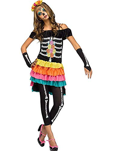 Fun World FW124083-J Teenagers Dia De Los Muertos Costume44; Junior