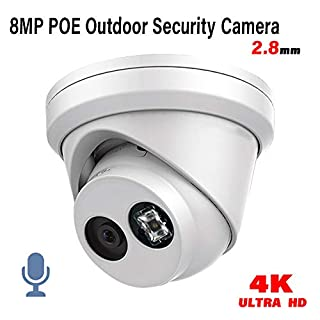 HITOSINO 8MP EXIR Turret IP PoE Security Camera Outdoor OEM DS-2CD2383G0-I 2.8MM Built-in Mic, Night Vision 98ft H.265+ 4k Network Dome Camera with IP66 WDR 3D DNR Built-in SD Card Slot